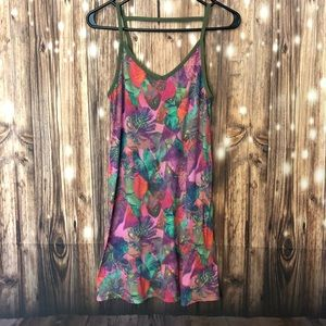 Floral Print Ribbed Tank Dress